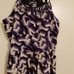 Side Zip Geometric Top With Weave Details
